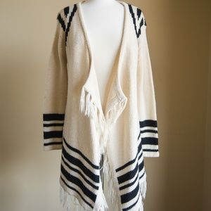 Windsor Frayed Ivory Cardigan with Black Stripes
